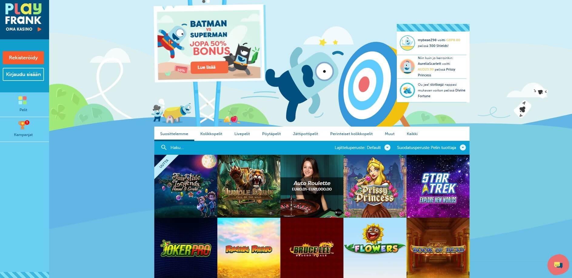 PlayFrank nettikasinolla on upea tervetuliaisbonus