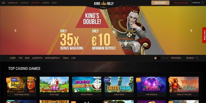 KingBilly nettikasino on kuninkaallinen pelipaikka